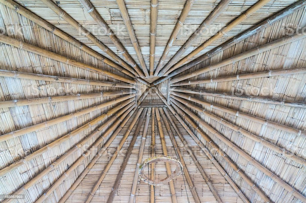 roof with bamboo and wood royalty-free stock photo