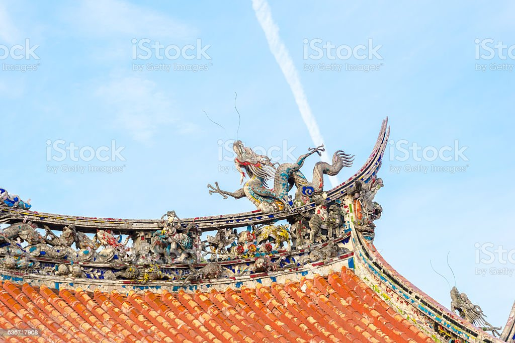 Roof with beautiful decoration of lungshan in Taipei stock photo