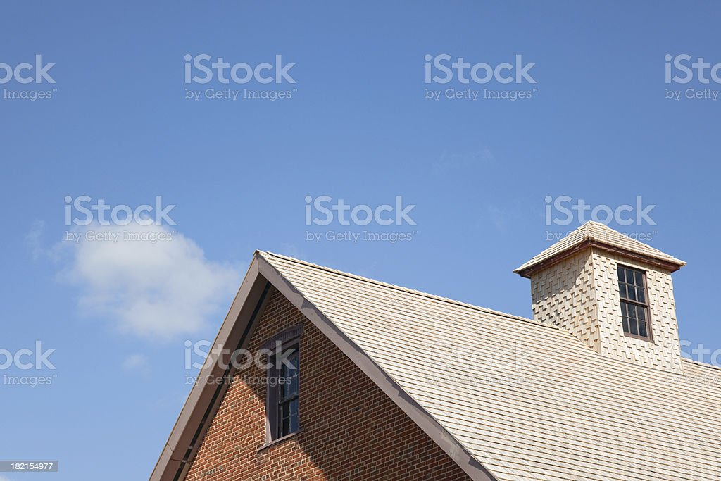 Roof with Cedar Shingles stock photo