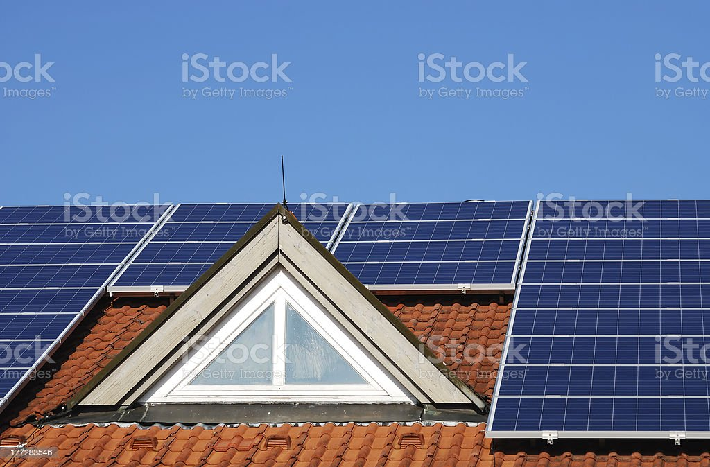 Roof With Photovoltaic System royalty-free stock photo