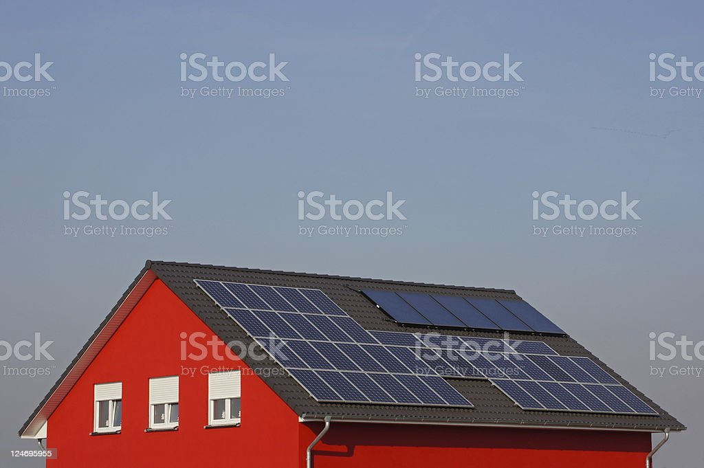 Roof with solar cells royalty-free stock photo