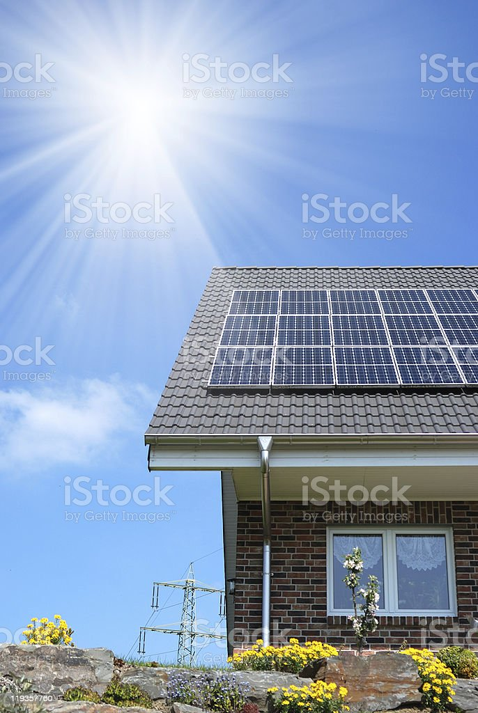 Roof with solar panel stock photo