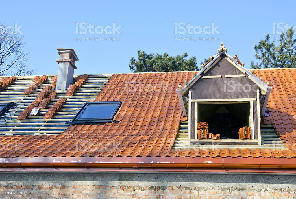 roof works with ceramic tiles royalty-free stock photo