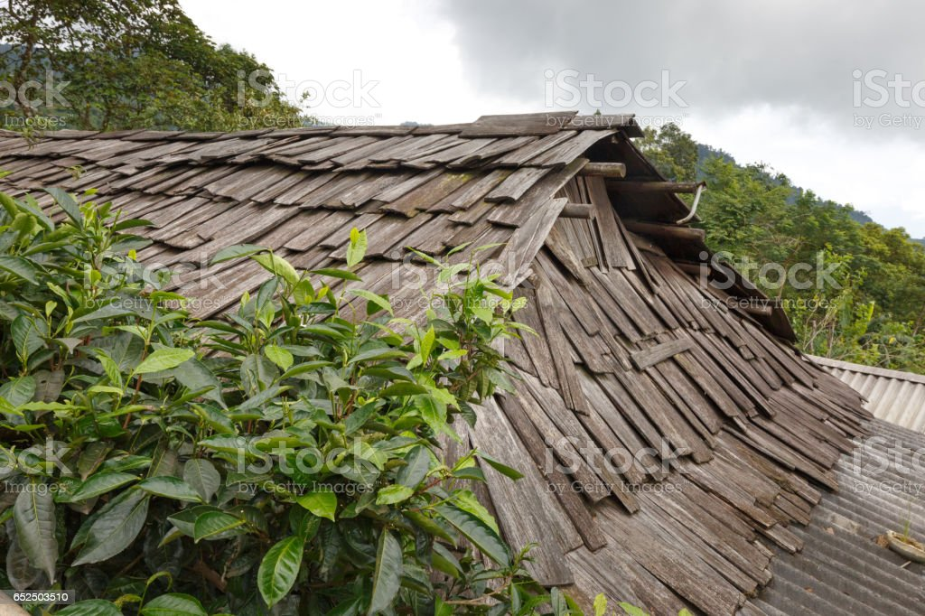 roofed wooden roofing of the highland ethnic minorities in Yen Bai province, Vietnam stock photo