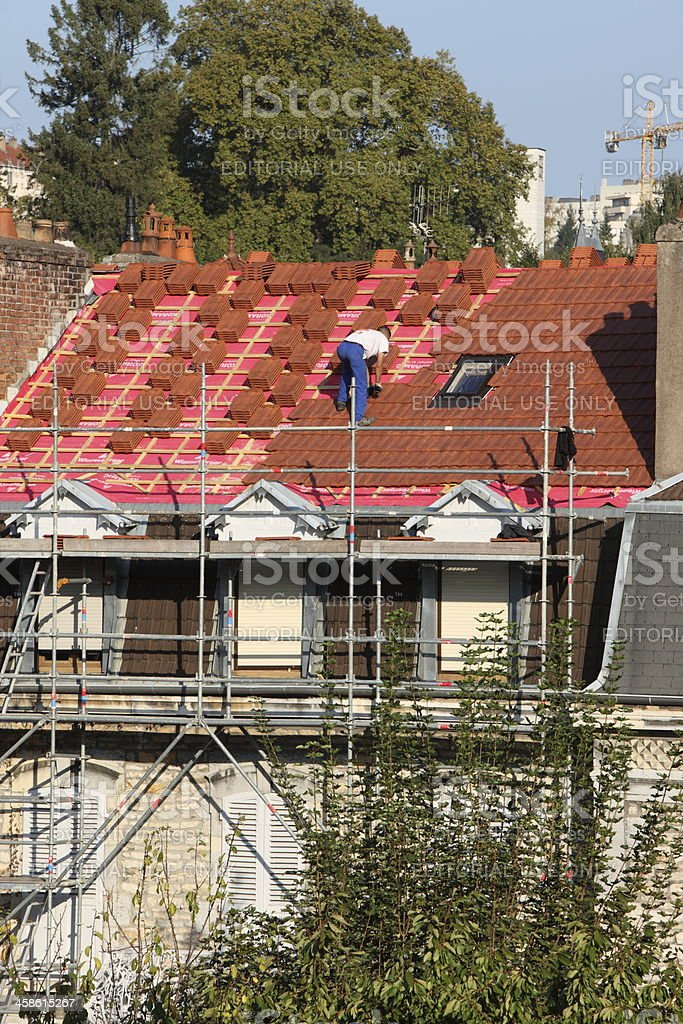 Roofer at work royalty-free stock photo