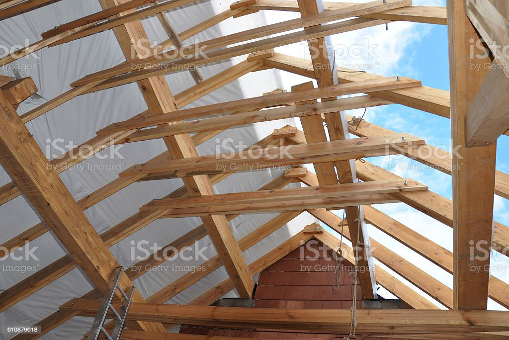 Roofing Attic Construction Indoor. Wooden Roof Frame House stock photo