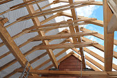 Roofing Attic Construction Indoor. Wooden Roof Frame House