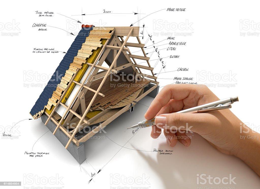 Roofing engineering stock photo
