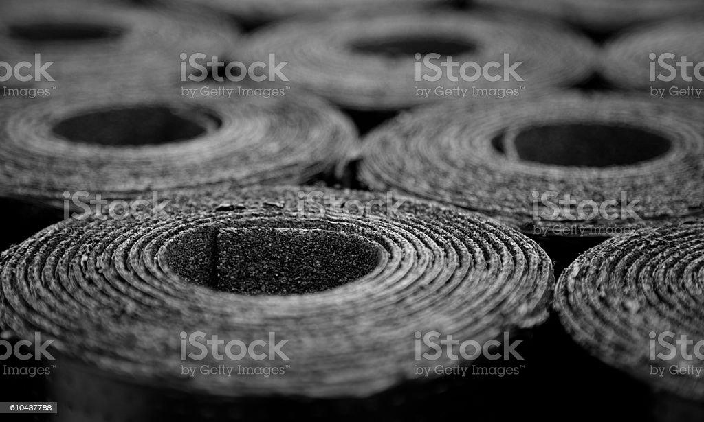Roofing felt. Rolls of Bitumen stock photo
