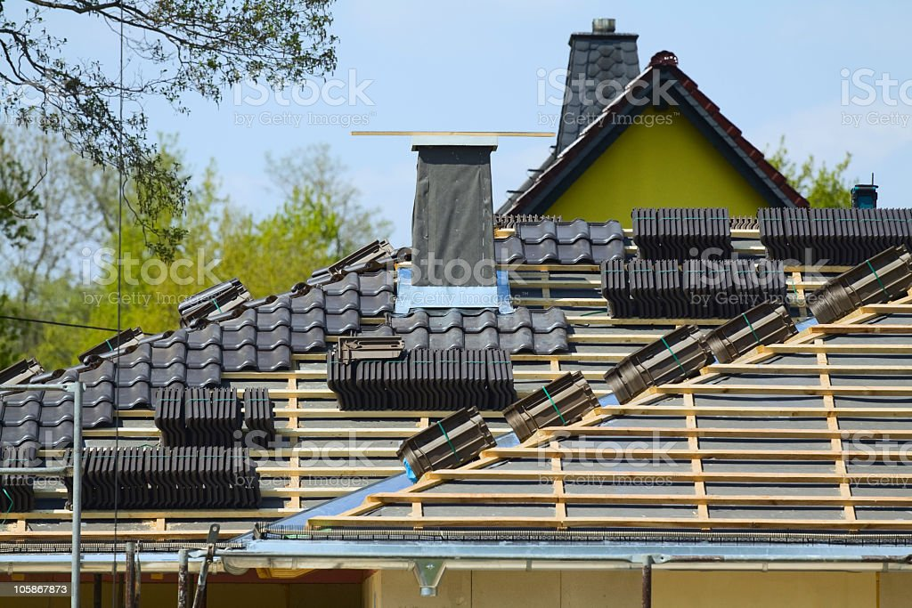 Roofing & roof construction stock photo