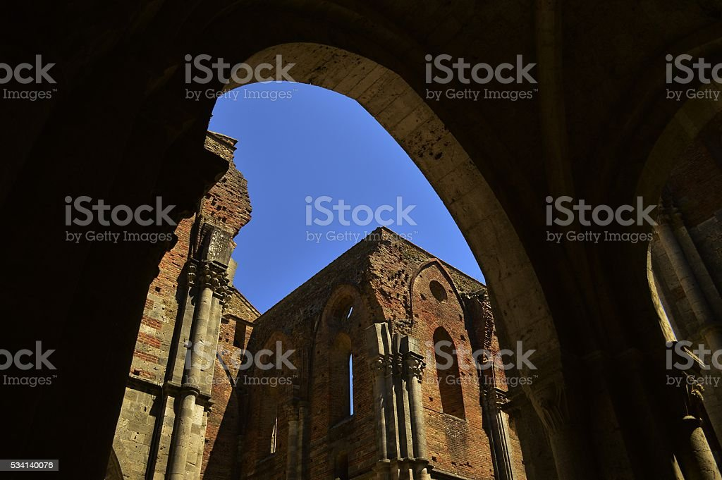 Roofless church stock photo