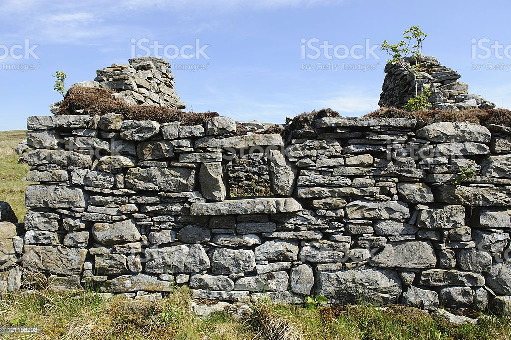 Roofless old stone cottage royalty-free stock photo