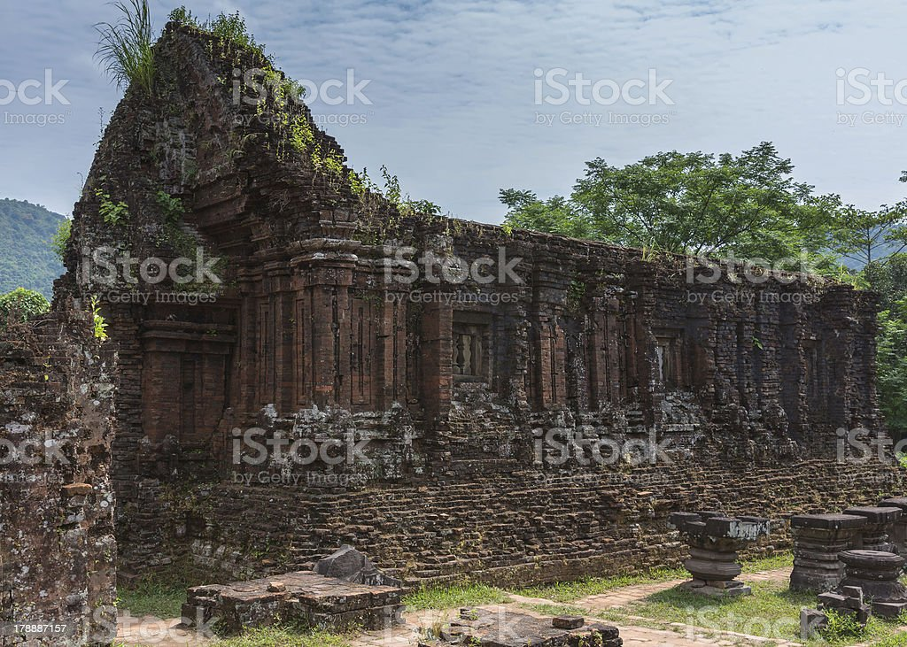 Roofless structure at My Son Cham towers. stock photo