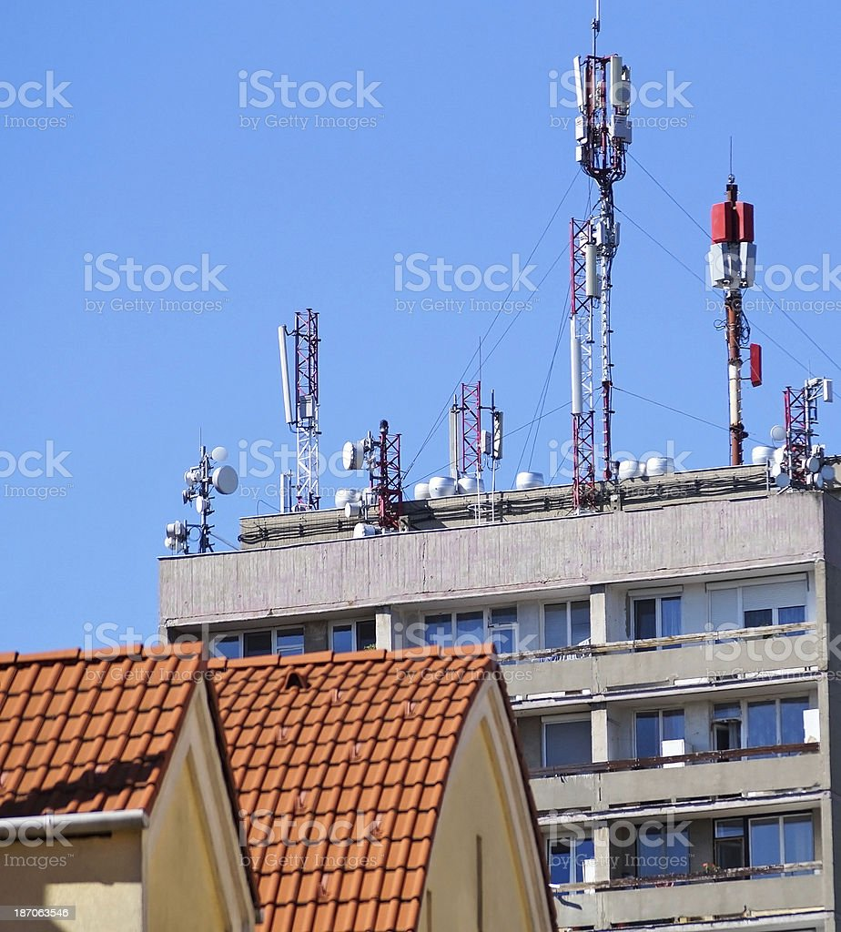 Roofs and antennas royalty-free stock photo