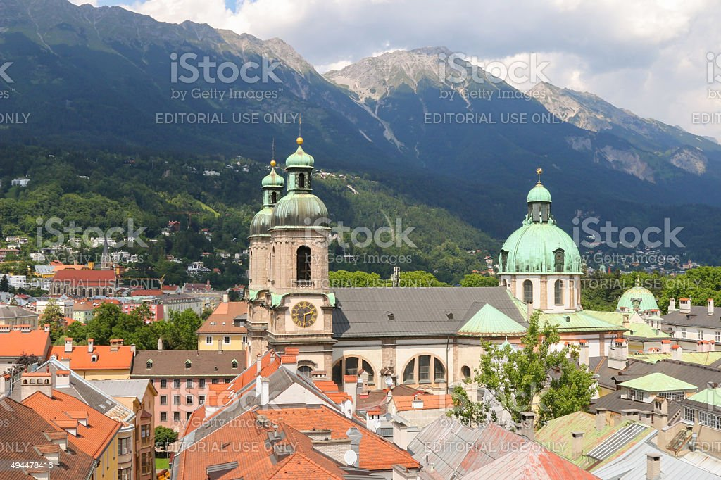 Roofs and buildings in Innsbruck city, Austria stock photo