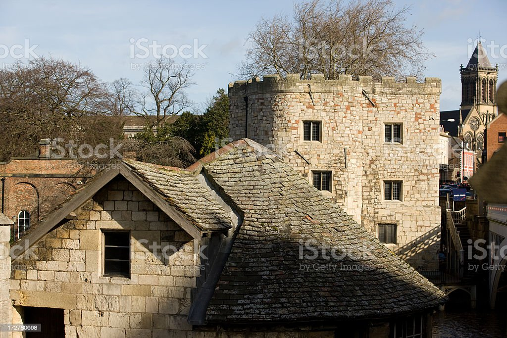 Roofs and Ramparts in York stock photo