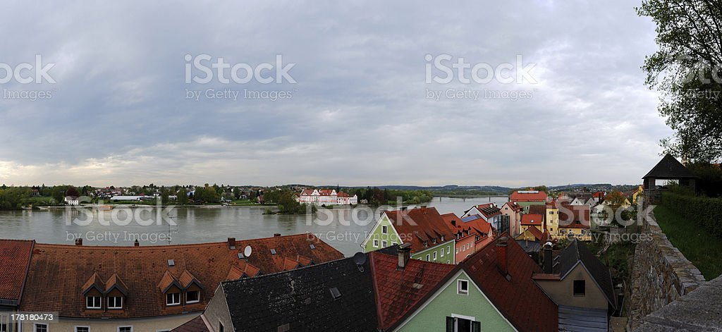 roofs and river in a baroque city panorama royalty-free stock photo