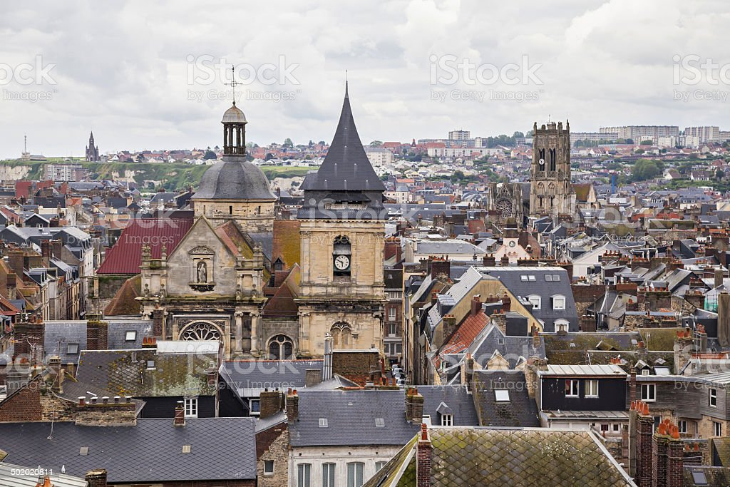 Roofs and towers of Dieppe, France stock photo
