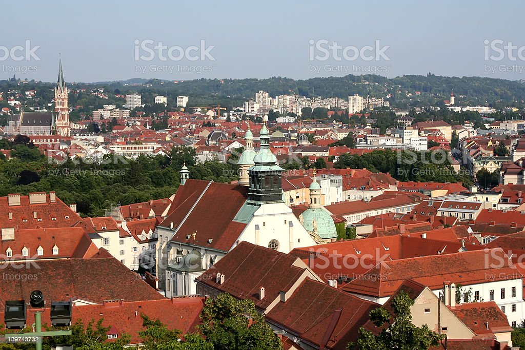 Roofs in Graz royalty-free stock photo
