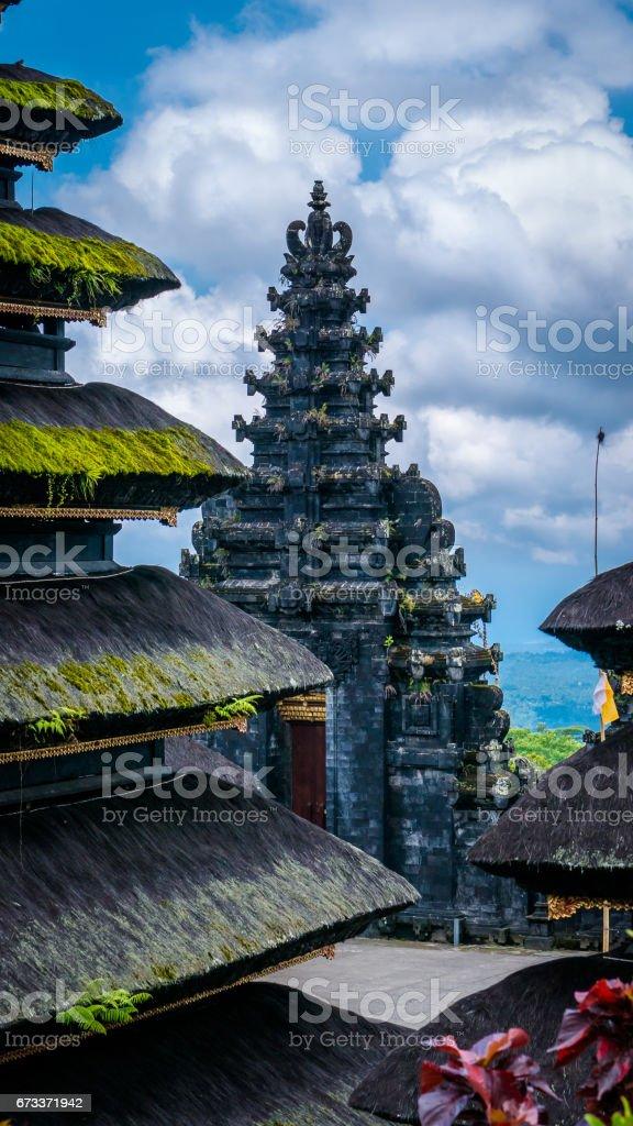 Roofs in Pura Besakih Temple in Bali Island, Indonesia stock photo