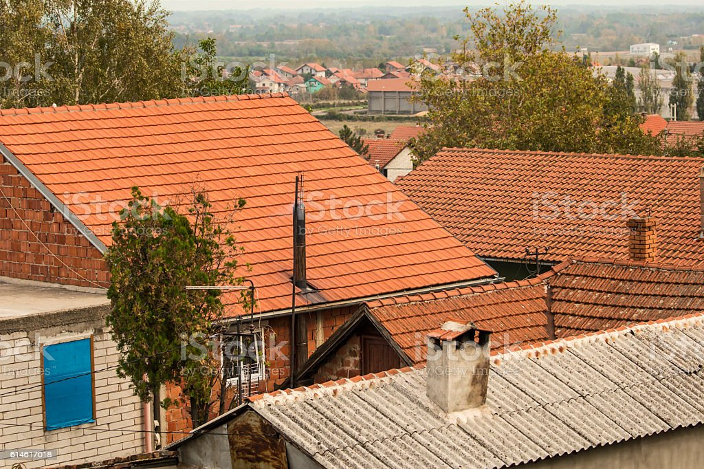 Roofs in rural area stock photo