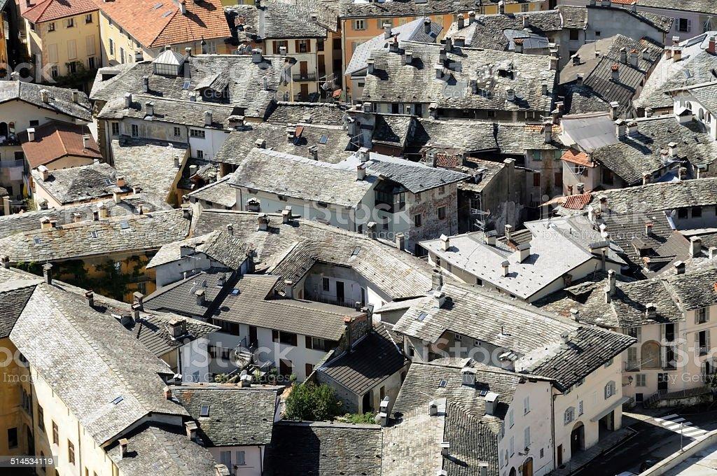 Roofs in Stone, Varallo Sesia in Piedmont stock photo