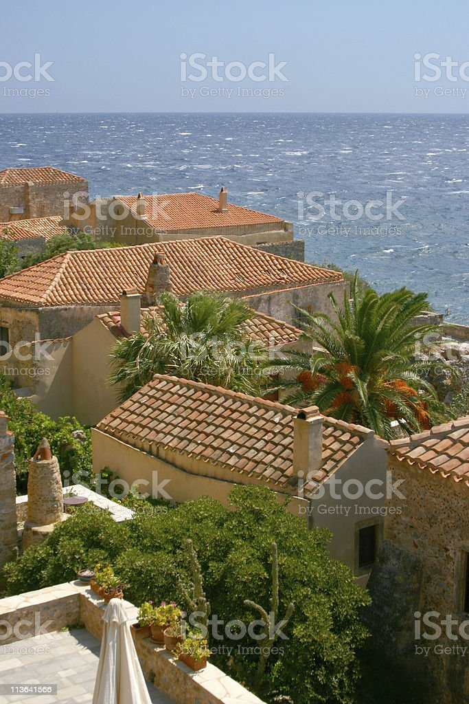 Roofs in the old town of Monemvasia, Greece stock photo