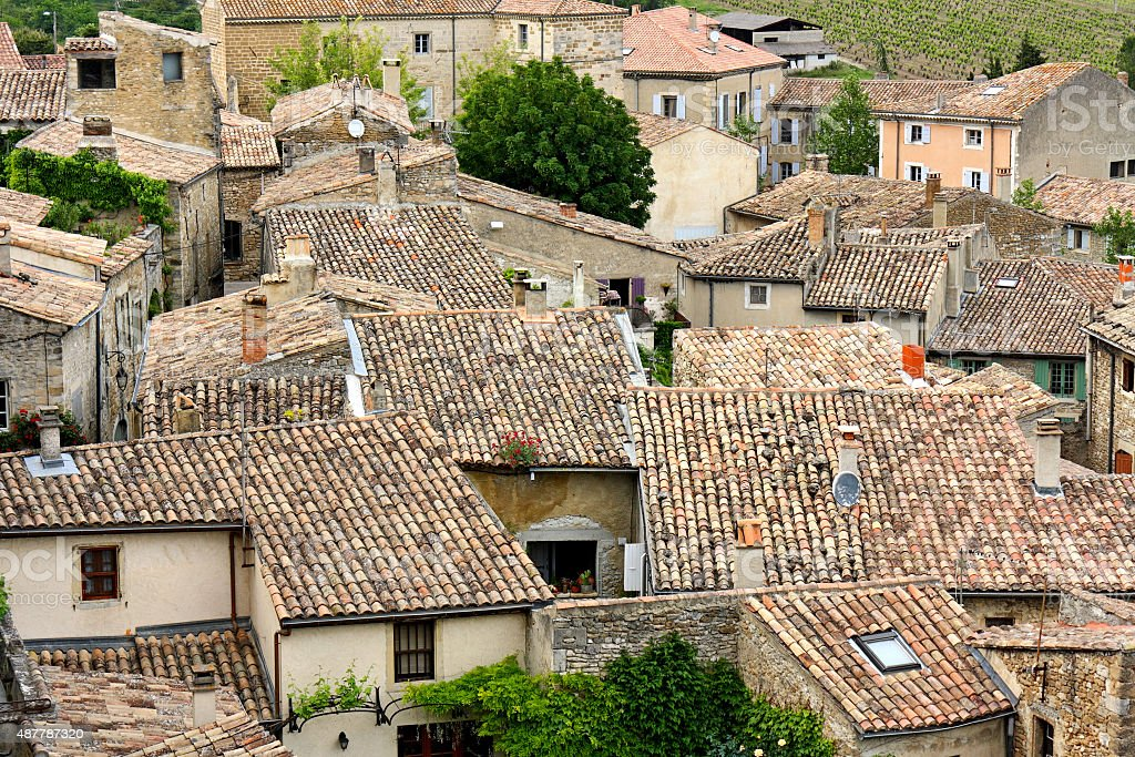 Roofs in the village Grignan in Southern France stock photo
