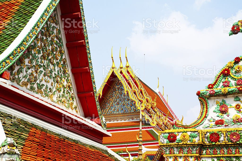 Roofs in Wat Pho stock photo