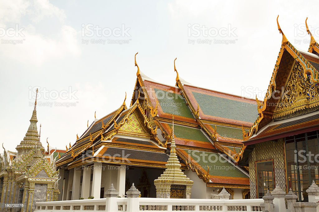 Roofs in Wat Phra Kaeo royalty-free stock photo