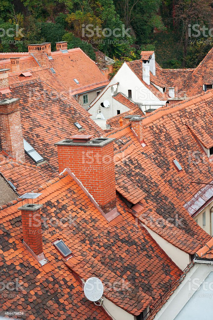 roofs of a historic center stock photo