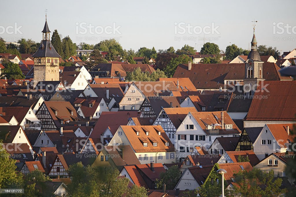 Roofs of a medieval german town stock photo