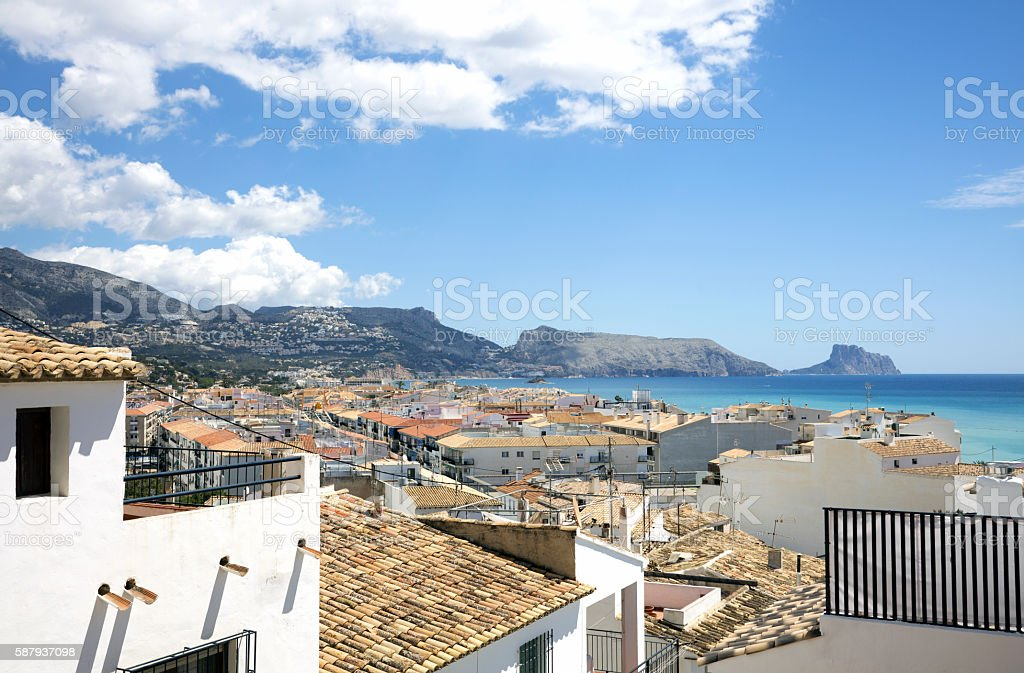 Roofs of Altea old town and the Mediterranean Sea stock photo
