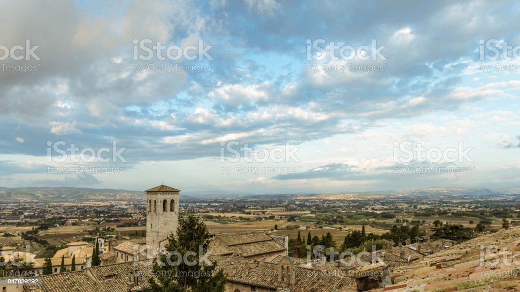 roofs of Assisi stock photo