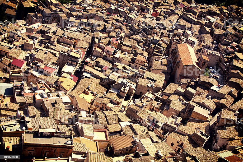 Roofs of Caltabellotta stock photo