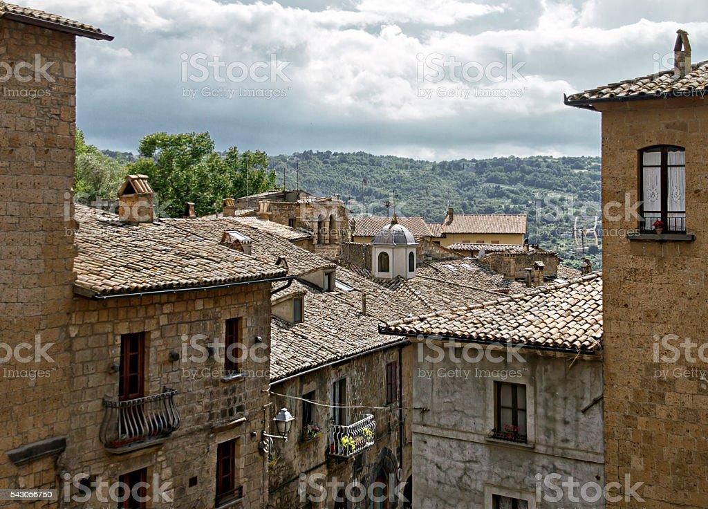 Roofs of houses, city Orvieto, Italy, Toscana stock photo