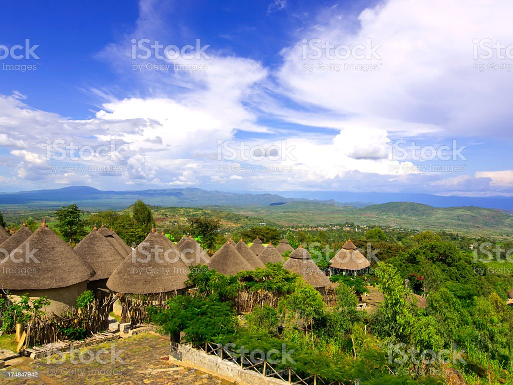 Roofs of Konso royalty-free stock photo