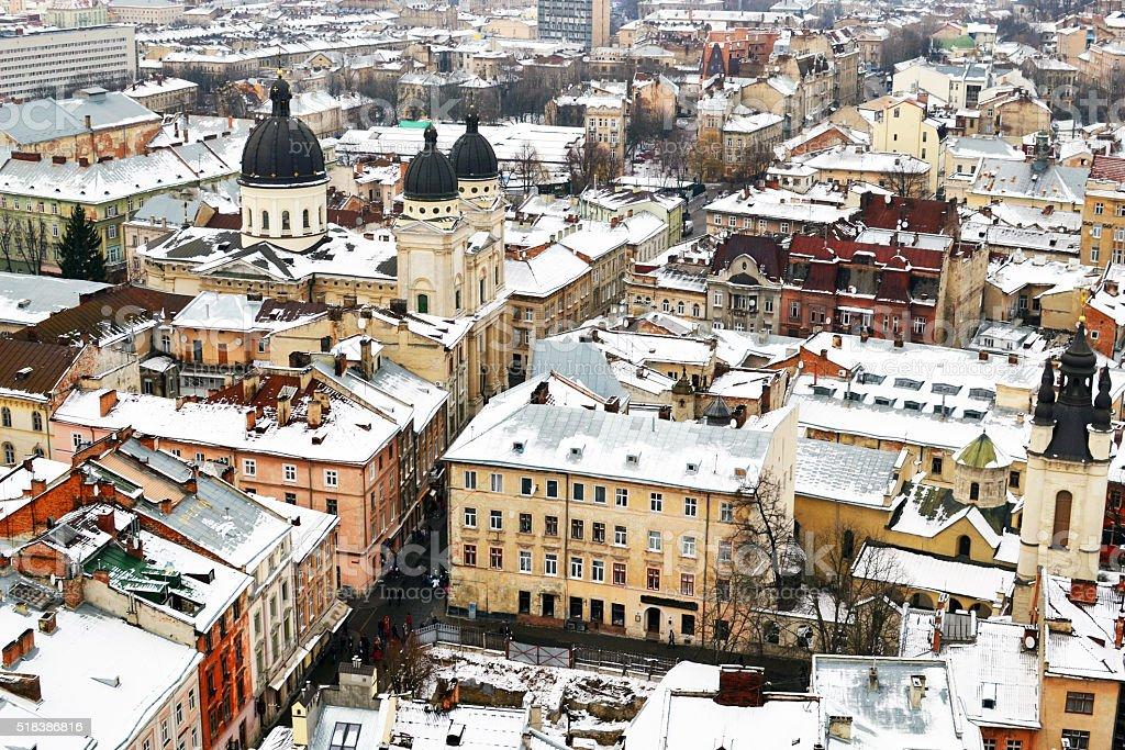 Techos de Lvov de la Torre, Ucrania foto de stock libre de derechos