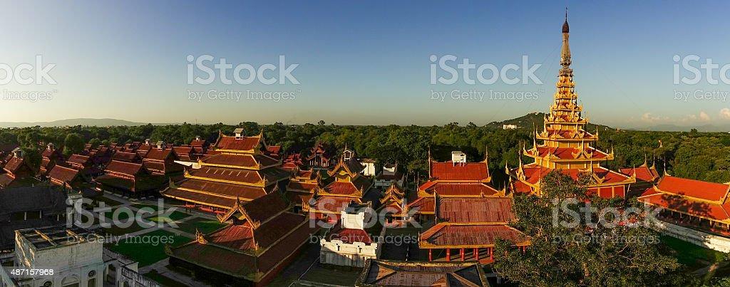 Roofs of Mandalay Palace stock photo