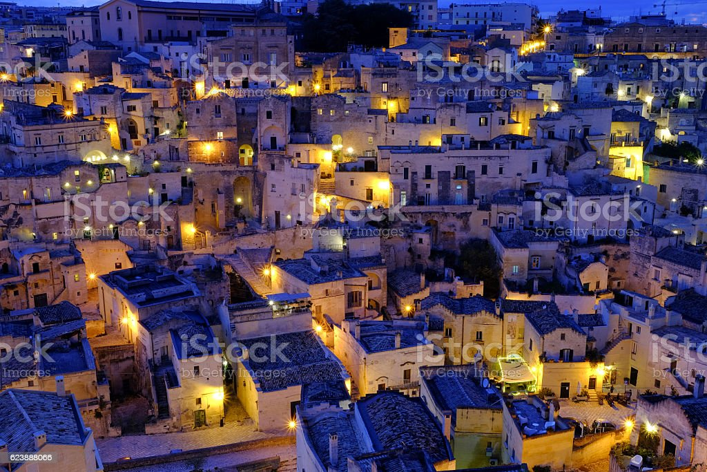 Roofs of Matera at the blue hour stock photo