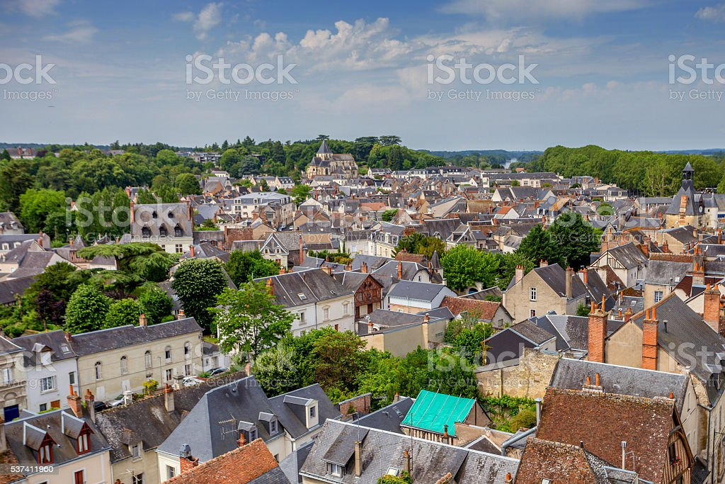 Roofs of medieval European town stock photo
