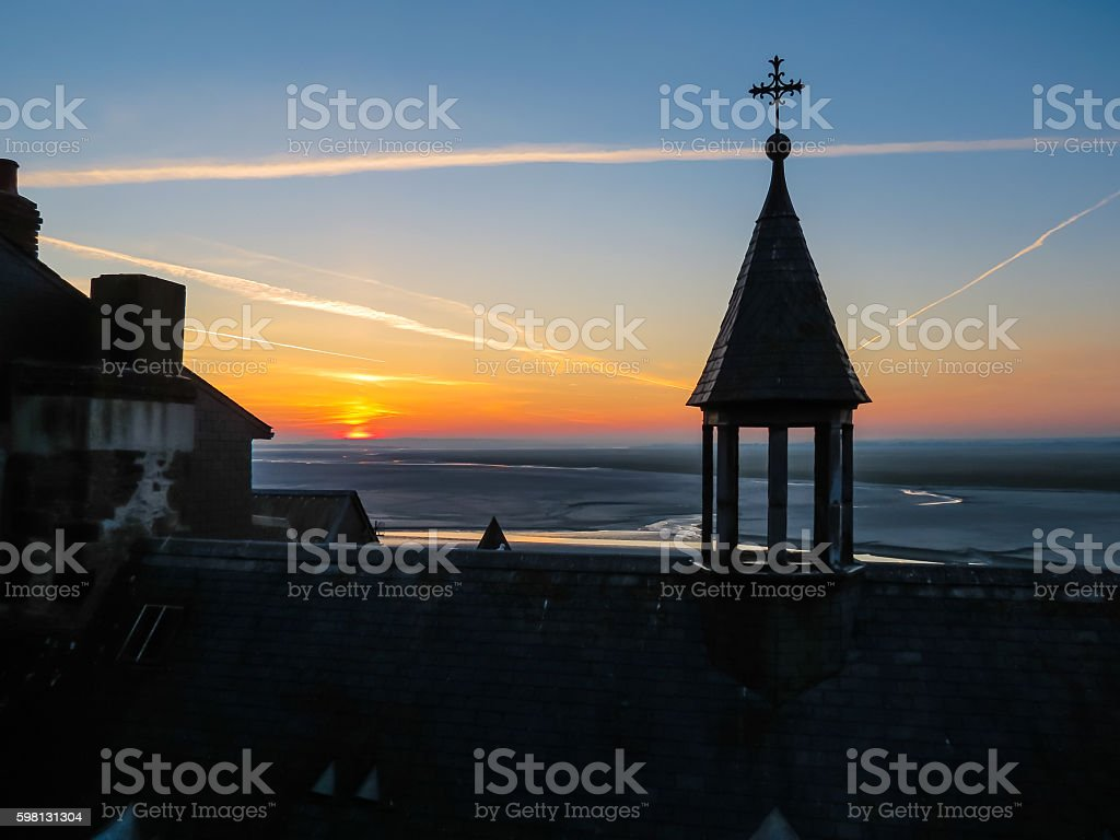 Roofs of Mont Saint-Michel, France stock photo