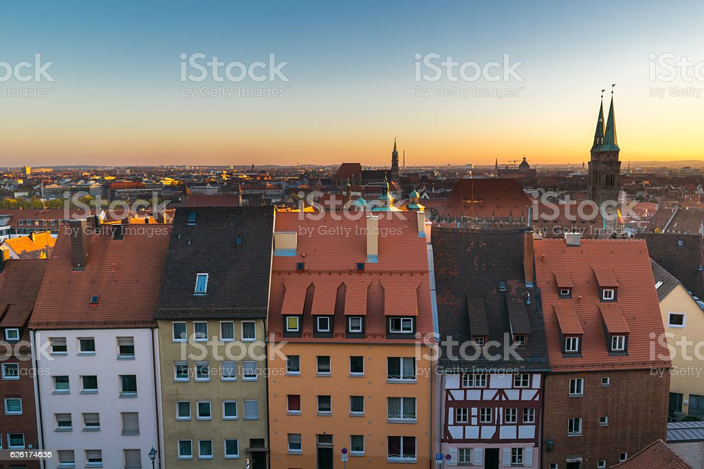 Roofs of Nuremberg, Sunset over Nuremberg, Bavaria, Germany, Western Europe stock photo