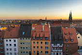 Roofs of Nuremberg, Sunset over Nuremberg, Bavaria, Germany, Western Europe
