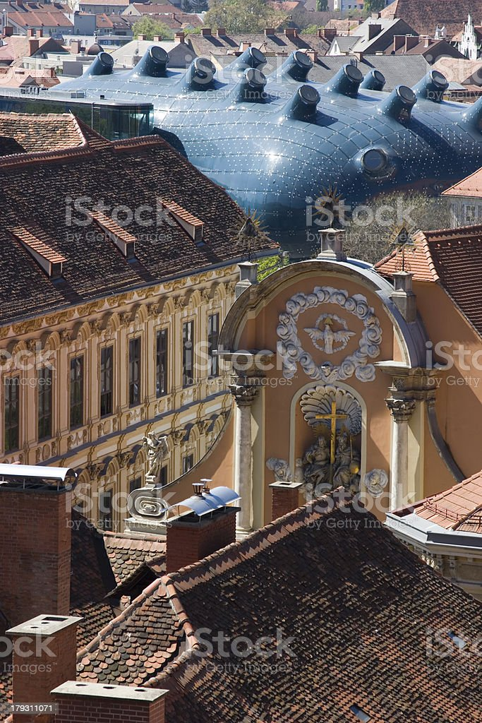 Roofs of old and modern bulidings in Graz stock photo