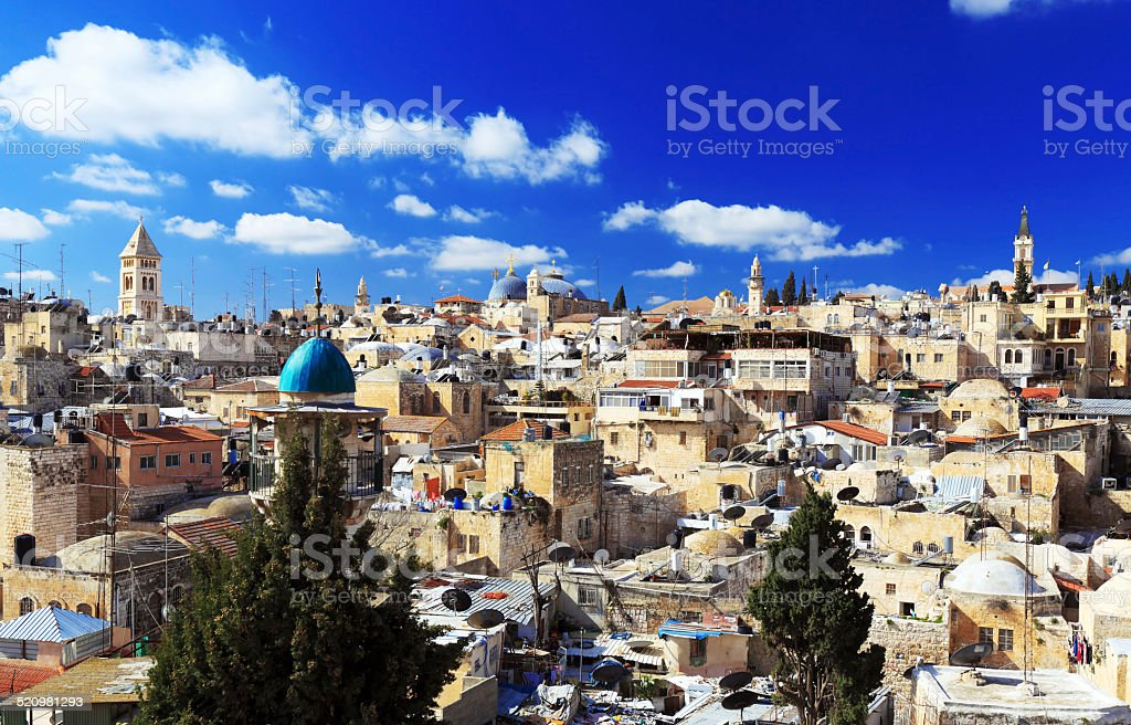 Roofs of Old City with Holy Sepulcher Chirch Dome, Jerusalem stock photo