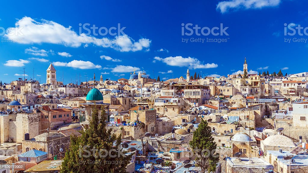 Roofs of Old City with Holy Sepulcher Church Dome, Jerusalem stock photo