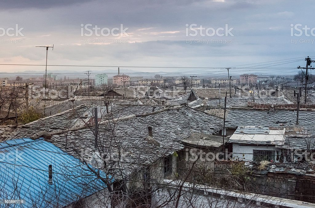 Roofs of old houses in North Korea stock photo