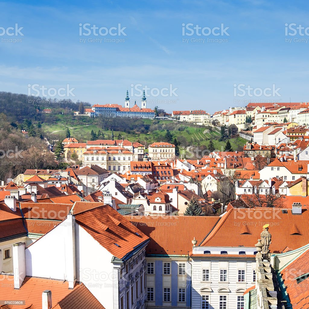 Roofs of old Prague on a bright Autumn day stock photo