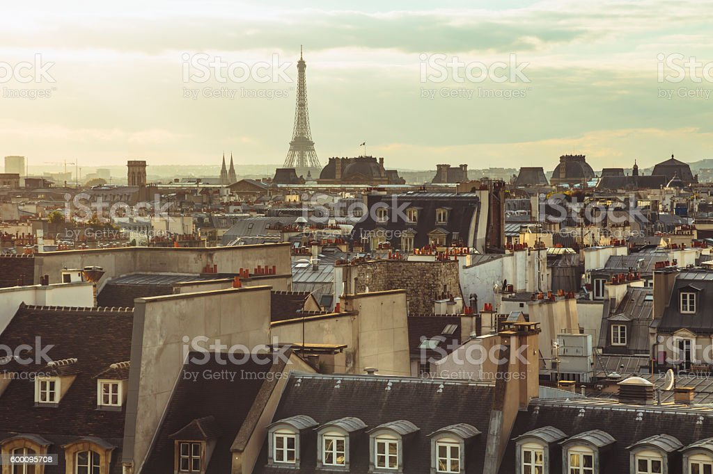 Roofs of Paris and Eiffel Tower on horizon (Paris, France) stock photo
